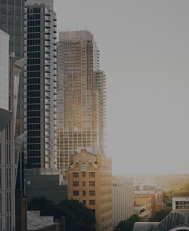 Morning Sun Behind Skyscrapers